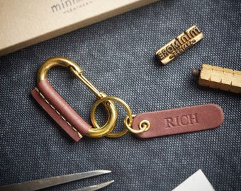 Solid Brass Carabiner Claps with Leather Wrapped  / Brass Keyring Carabiner /  Key fob Leather Wrapped with name tag