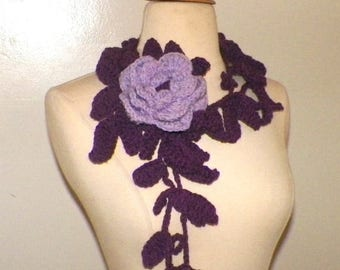 On Sale- Rose Scarf  Lariat Purple Crochet  Flower Brooch Necklace With  Ivy Floral Accessory Freeform Spring Fashion Long Skinny