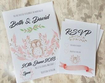 Wedding invitations, wedding invites, owl, woodland invitations, woodland art, wedding rsvp, custom invitations, personalised invitations