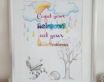 Foil print, rainbow print, woodland, quote art, quote print, Inspirational quote, wall art, nursery, motivational quote, foil art, colourful