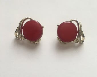 Vintage Coro red thermoset clip earrings