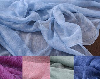 130cm wide thin wrinkled silk fabric for summer long and short dress shirt scarf green blue pink purple red available H001
