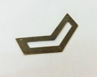 6 Pcs Antique Bronze  15 x 51 mm Chevron Necklace Connector , 2 Hole , 25 Gauge