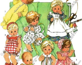 """Baby Doll Clothes Pattern for 15"""" - 16"""" Medium sized Dolls such as Dy Dee Baby"""