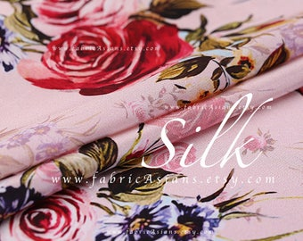 Cottage chic pink rose silk by the yard