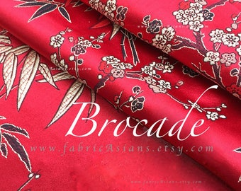 Red Brocade cherry blossom Fabric by the yard