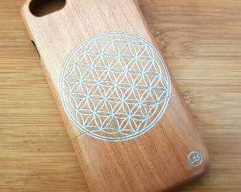 iPhone 7  Natural Cherry Wood Phone Case Custom Design 'Flower of Life' with SILVER engraving