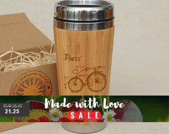 Customized Engraved Bamboo Wood Travel Mug '' Paris Bicycle'' Car Desk Coffee Tea Cup Stainless Steel Rubber Mounted Plastic Lid