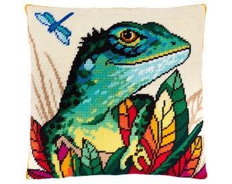 "Cross Stitch Kit,Lizard Pillow, Size 16""x16"" (40х40 cm), Printed Canvas, Modern Needlepoint Kit, DIY Kit"