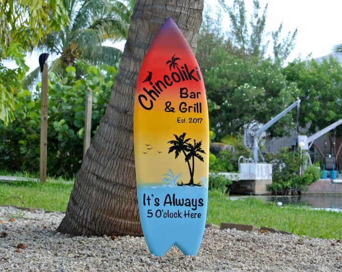 Tiki bar decor sign. Custom Family oasis sign. Housewarming gift idea. Beach house decor Its 5 O'clock somewhere.