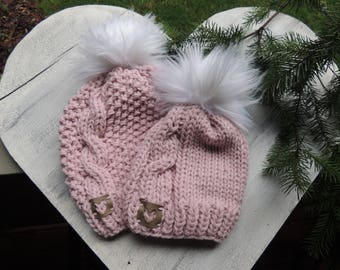 Cable Knit Hats, Luv Beanies, Girl Hats, Stocking Hats, Girl Stocking hats, Ski Hats, Hat with Fur Pom Poms, Pink Hats, Ladies Hats