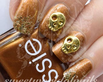 Halloween Nails 3D Gold Metal Skulls Nail Charms /5 pcs