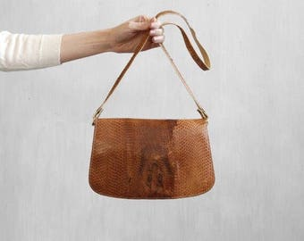 snake skin shoulder bag / snake skin handbag with tan leather / snake skin purse / reptile skin handbag / minimalist tan leather bag