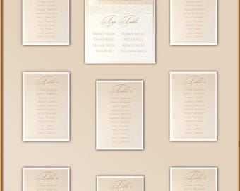 Peach Lace Rustic Wedding Table Plan A1/  Portrait or Landscape With Hard Framing & Vintage Ecru Lace For Up to 10 Tables