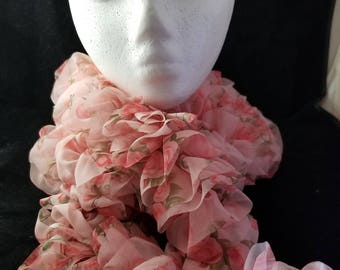 Pink Floral Ruffled Scarf