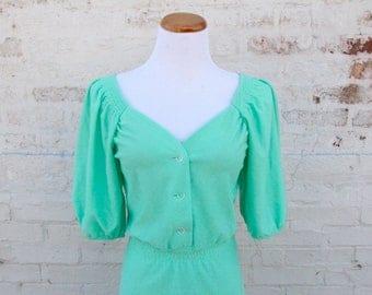 Vintage Seafoam Green Dress 1970s