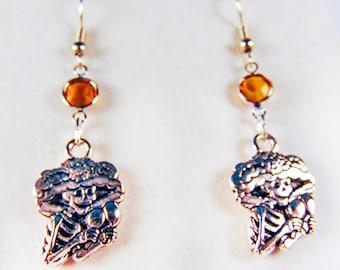 SKELETON EARRINGS, skeleton jewelry, Halloween earrings, Halloween jewelry, charm, topaz crystal, brass zombie, Mexican skeleton - 2029H