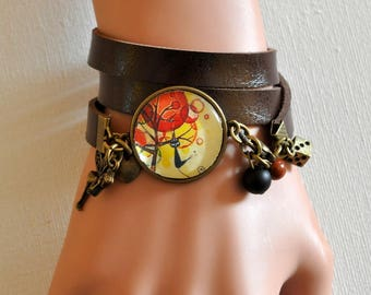 Leather Bracelet cabochon pendant with stones and breloques@kreapat fairy chat