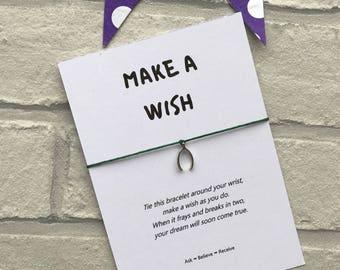 Make A Wish wish bracelet - Make A Wish string bracelet - Make A Wish charm bracelet - Wishbone charm - Silver Wishbone bracelet