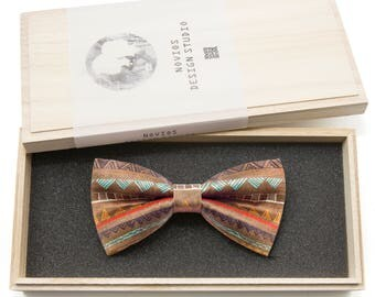 Brown Nomad Patter Bowtie -Graduation Gift, Toddler Bowtie , Wedding Ties, Groomsmen bow tie, Pre Tied and Adjustable Novioshk, H0024