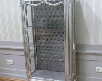 China Cabinet glazed in the Baroque style, silver, 3-sided