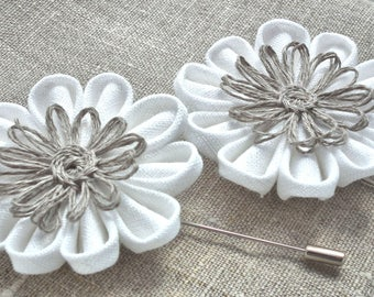 White Linen Boutonniere Pin Bridal Accessory Buttonhole Linen Burlap Kanzashi Flowers Brooch Country Wedding Groom Groomsmen Boutonnieres
