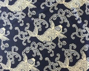 Aegean- Magnolia Escalar Marine - Upholstery Fabric by The Yard