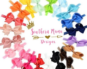 Set of 20 Elastic and Bow Baby Headbands- Baby Headwrap-Baby Headband-Elastic Headbands-Toddler Elastic with Bow Headbands-Headwraps Girls-