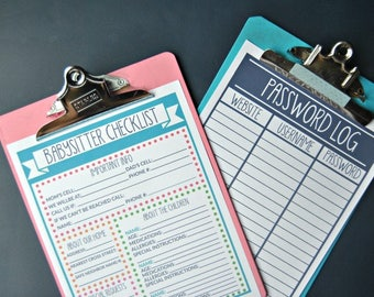 PDF: Home Management Forms, Babysitter Checklist, Emergency Contact, Home Info, Basic Homemaking Forms - INSTANT DOWNLOAD