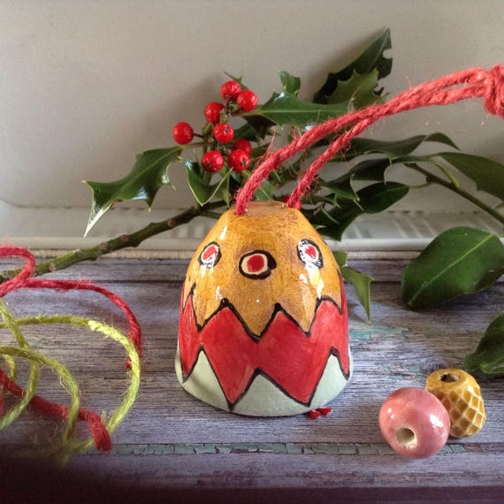 Hanging bell, jingle bell, Christmas tree ornament, decoration, ceramic bell, ringing bell