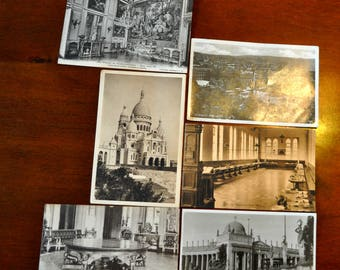 Set of 6 Antique European Post Cards, Various Cities & Ages