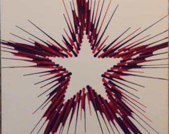 Star spin-art design on canvas