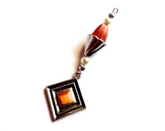 Long pendant 70mm Pearl silk burnt orange / white glass Pearl / antique silver Rhombus orange cabochon