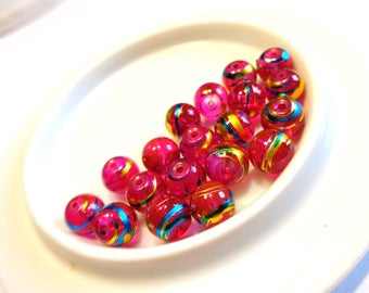Set of 20 6 mm round beads, glass drawbench COSMIC color fuchsia with turquoise and gold trim