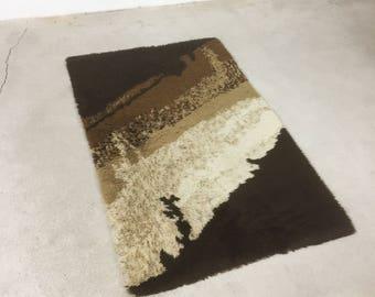 vintage 70s modernist DESSO rug rya | mid century modern eames era 70s op art shag loft retro mod rug | DESSO wool pop design