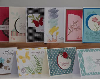 10 Thinking of You Cards. Hello Card Set. Greeting Card Assortment. Handmade Card Set.  Blank Greeting Cards.  Thinking of You Stationery