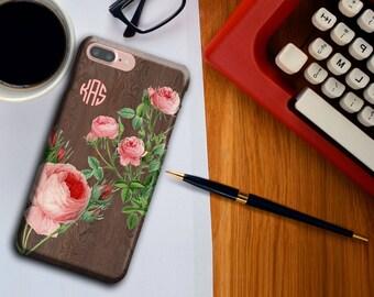 Pink Roses, Floral Phone case, Wood Grain Pattern, iPhone 6/6s/6 Plus/6s Plus/5s,  iPhone 6 case, monogram, phone case