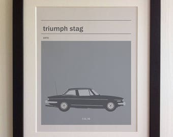 FRAMED Triumph Stag Print - Black/White Frame, Birthday, Anniversary, Father's Day, Christmas, Fab Picture Gift