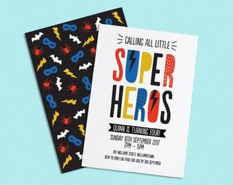 Superhero Invite, Superhero Party Invitation, Printable Superhero Invitation, Superhero Boy and Girl, Batman, Spiderman