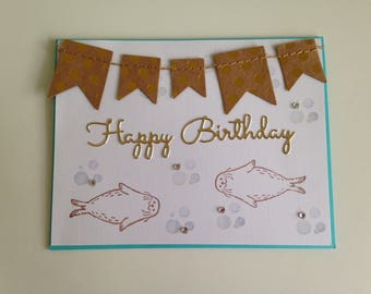 Summer Birthday Card with Seals Swimming and Banner