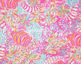 Multi Swish Fish dobby fabric 9 X 18 or 18 X 18 ~ Authentic Lilly Pulitzer fabrics~