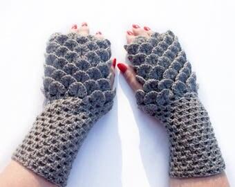 Fingerless Gloves,  Crocodile Mittens, Dragon Scale Fingerless Gloves, Dragon Gloves, Сhoice color, Christmas Gift by LoveKnittings