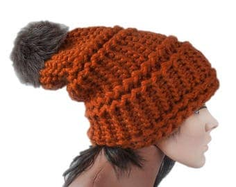 Knit Hat Women - Ginger Hat Butterscotch Beanie - Slouchy Ear Flap Hat -  Cap pompom - Knit Accessories Gift For Her