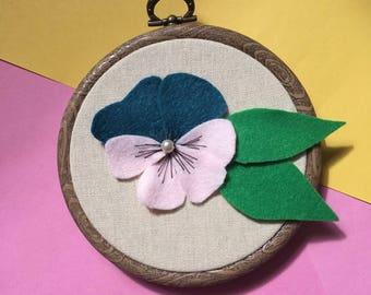 "Felt Pansy Embroidery Hoop Art 4"""