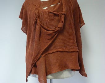 Special price. Boho brown linen blouse, XL size.