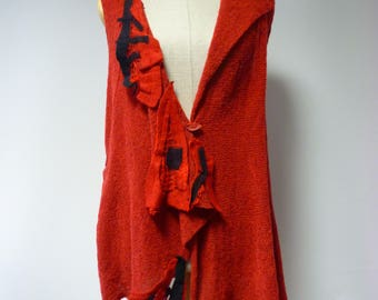 Boho artsy knitted red vest, M size. Made of soft wool, only one sample.