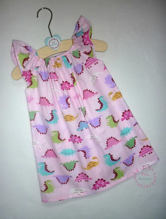 Pink dinosaur dress girly dinosaur party outfit unique for Girly dinosaur fabric