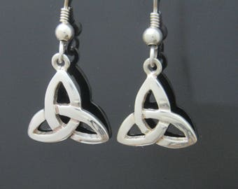 Trinity Knot Earrings - Sterling Silver Earring - Celtic Drop Earrings -Irish Jewelry - Silver Jewelry - Handmade in Ireland