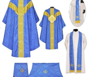 Dark Blue Gothic Vestment & Mass Set, Chasuble clergy priest minister church