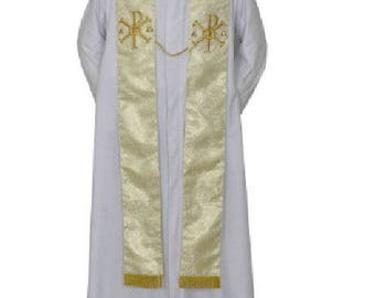 Metallic Gold Wedding Stole w/Rings & PAX ,clergy priest vestment chasuble